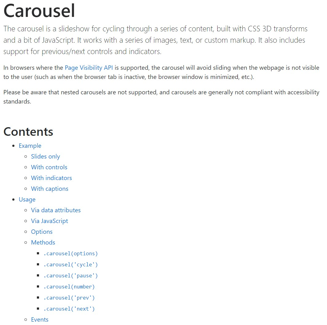 Bootstrap carousel  approved documentation