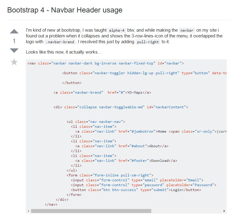 Bootstrap 4 - Navbar Header  application