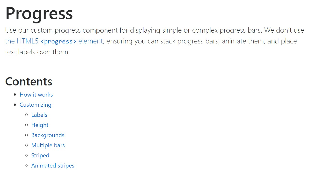 Bootstrap progress bar  formal documentation