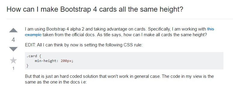 Insights on how can we  develop Bootstrap 4 cards  all the same tallness?