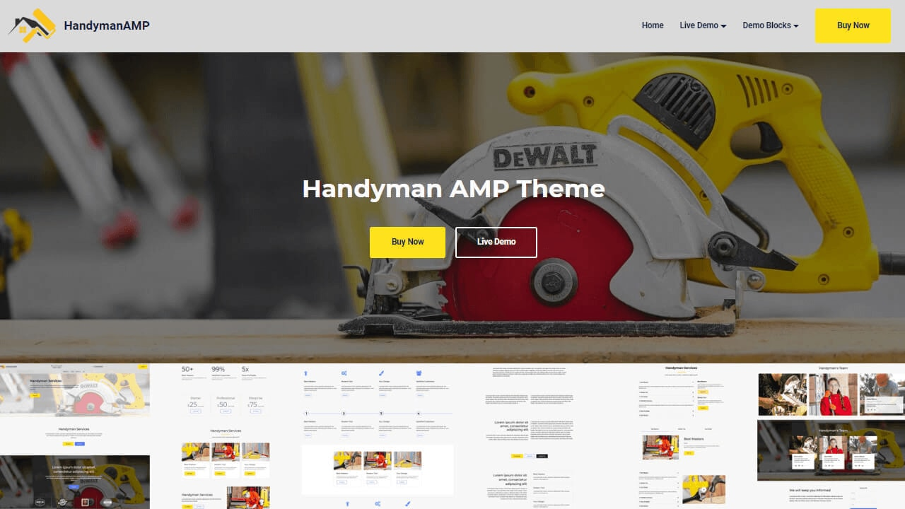 Handyman AMP HTML Components and Templates