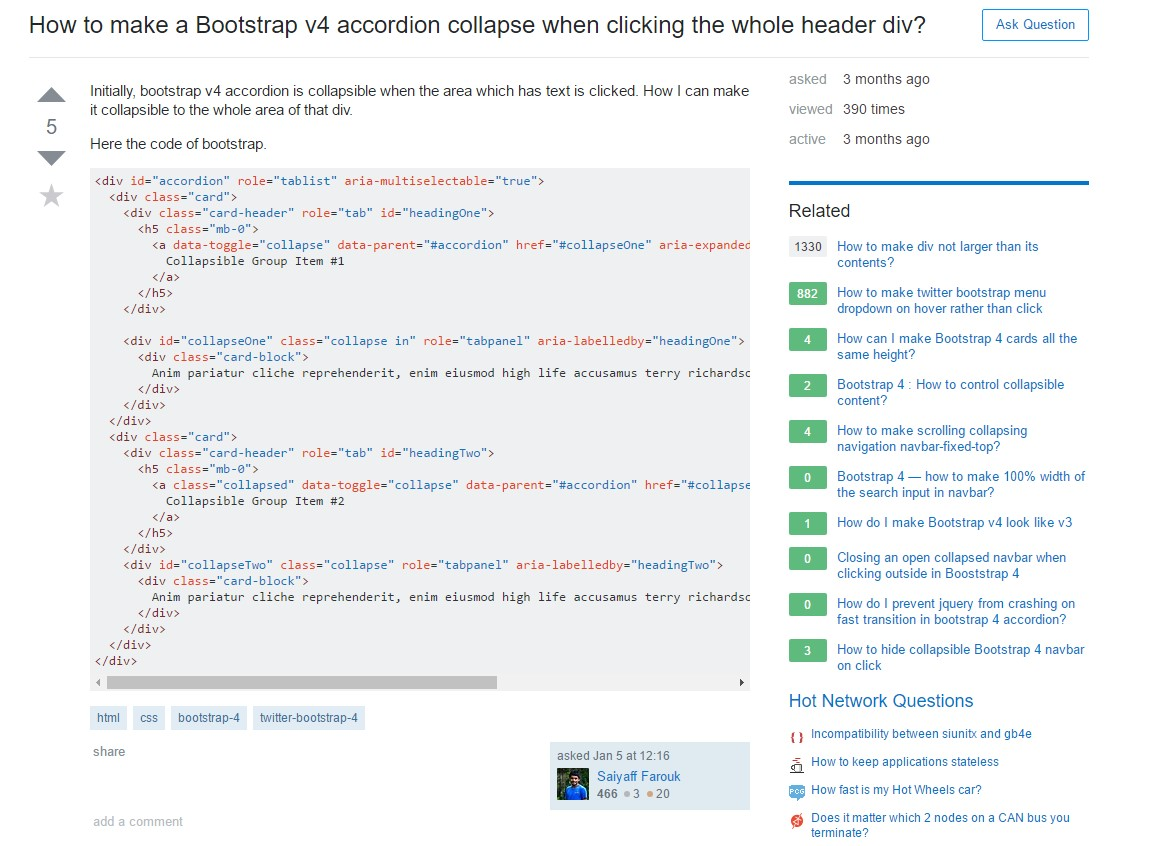 How to make a Bootstrap v4 accordion collapse when clicking the whole header div?