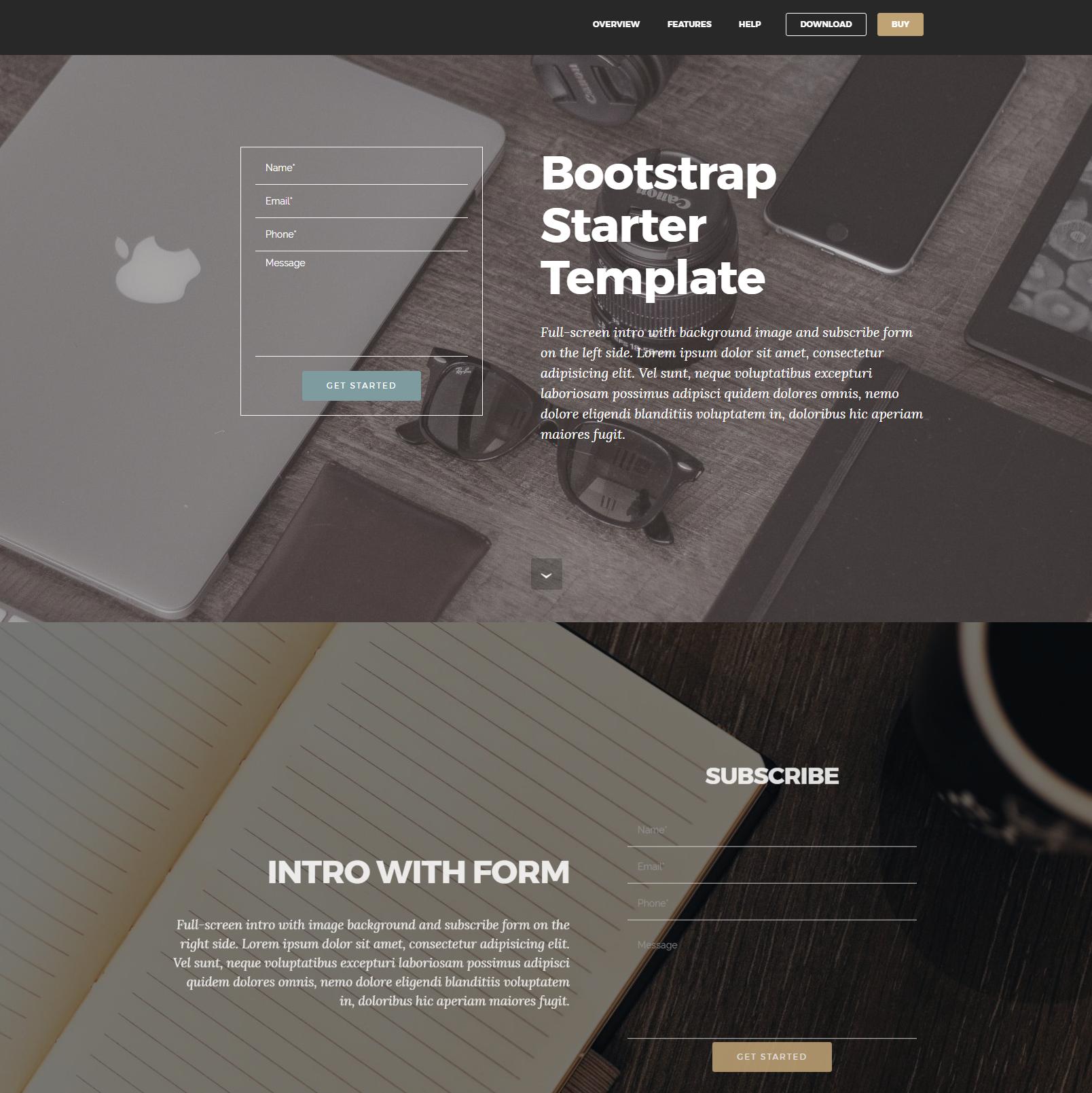 HTML5 Bootstrap Starter Templates