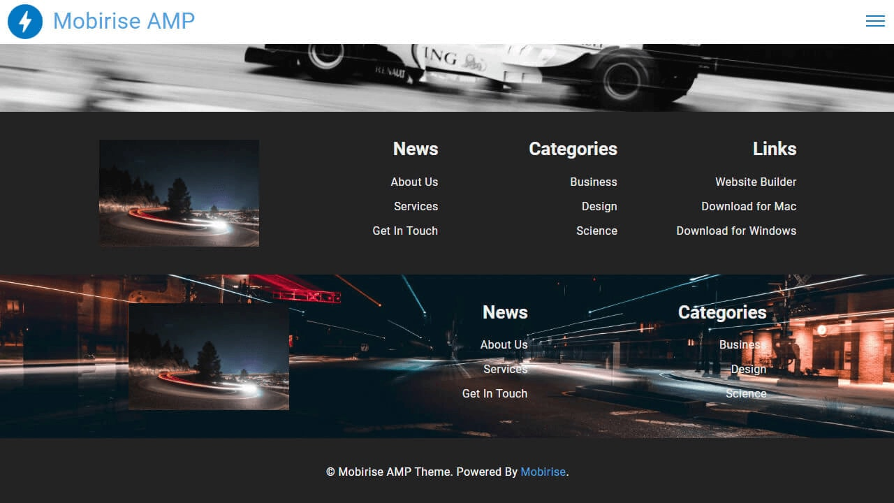 AMP Footer Components and Templates